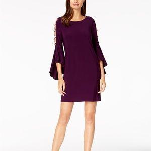MSK Embellished Bell-Sleeve Dress Luxe Plum